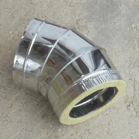 Сэндвич-отвод 130/210 мм 45 (135) из нержавейки AISI 304 0,8 мм и оцинковки