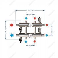 Схема и размеры распределительного коллектора на 3 контура 60 кВт из нержавейки