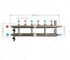 Схема и размеры распределительного коллектора на 4 контура 85 кВт
