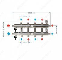 Схема и размеры распределительного коллектора на 5 контуров 60 кВт