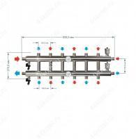 Схема и размеры распределительного коллектора на 7 контуров 60 кВт