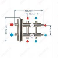 Коллектор с гидрострелкой для отопления на 3 контура 60 кВт схема и размеры