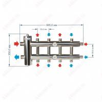 Коллектор с гидрострелкой для отопления на 5 контуров 85 кВт схема и размеры