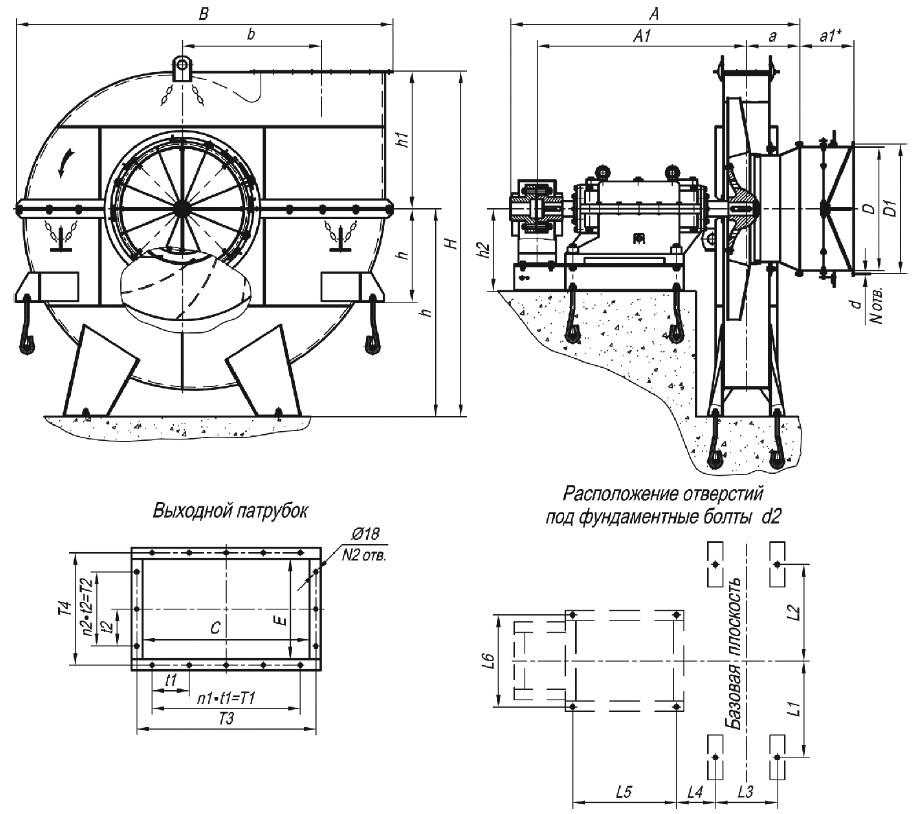 Габаритные и присоединительные размеры мельничного вентилятора ВМ-18