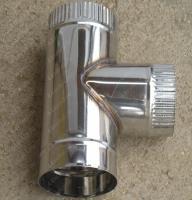 Одноконтурный тройник 120 мм 90 из нержавеющей стали 0,8 мм